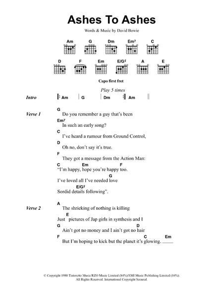 Download Ashes To Ashes Sheet Music By David Bowie Sheet Music Plus