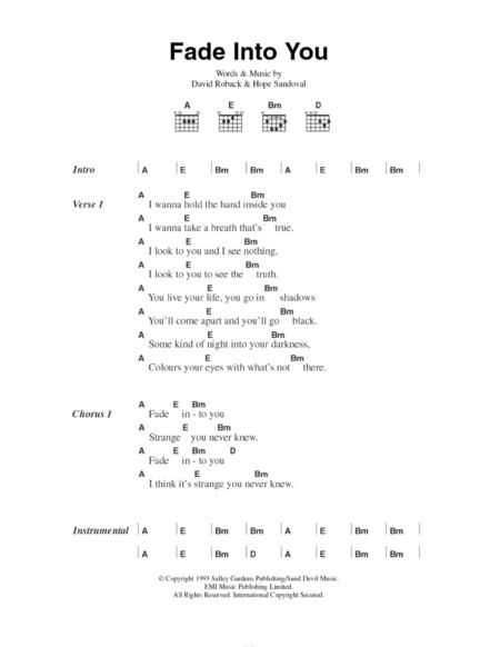 Download Fade Into You Sheet Music By David Roback Sheet Music Plus