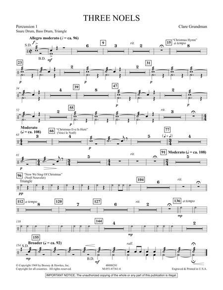 Three Noels - Percussion 1
