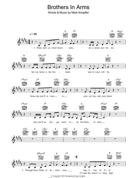 Download Brothers In Arms Sheet Music By Mark Knopfler