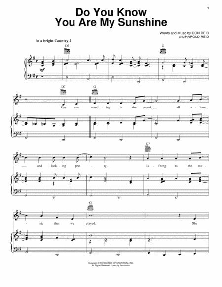 Download Do You Know You Are My Sunshine Sheet Music By The Statler ...