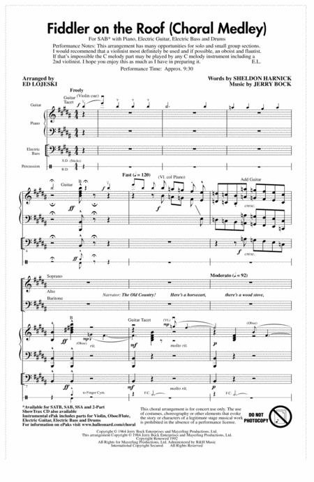 Fiddler On The Roof (Choral Medley) (arr. Ed Lojeski)
