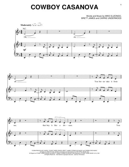 Download Cowboy Casanova Sheet Music By Carrie Underwood - Sheet ...