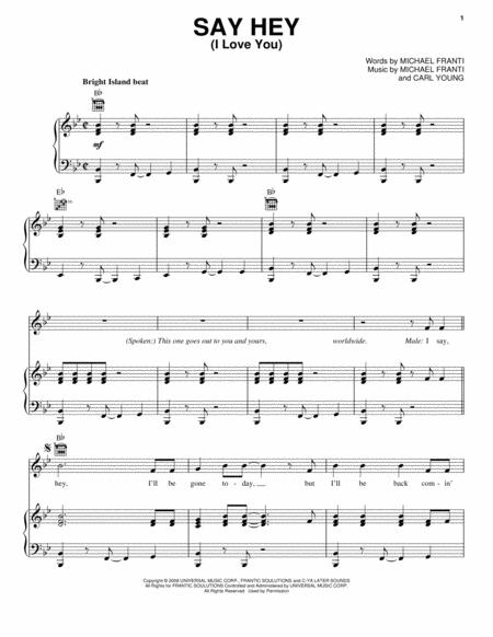 Download Say Hey (I Love You) Sheet Music By Michael Franti - Sheet ...