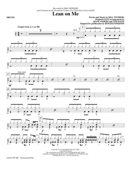 Download Lean On Me - Drums Sheet Music By Glee Cast - Sheet