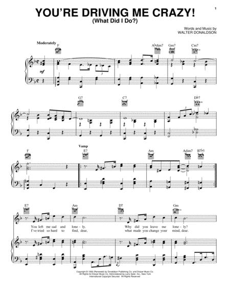 Download You\'re Driving Me Crazy! (What Did I Do?) Sheet Music By ...