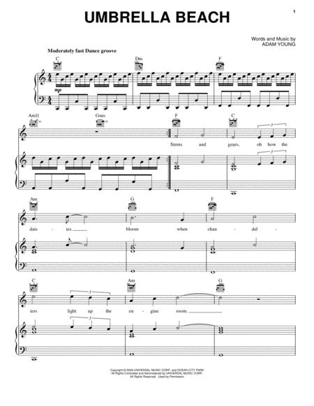 Download Umbrella Beach Sheet Music By Owl City Sheet Music Plus
