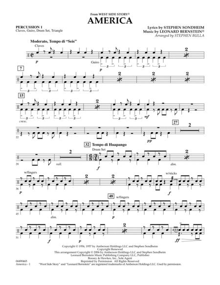 America (from West Side Story) - Percussion 1