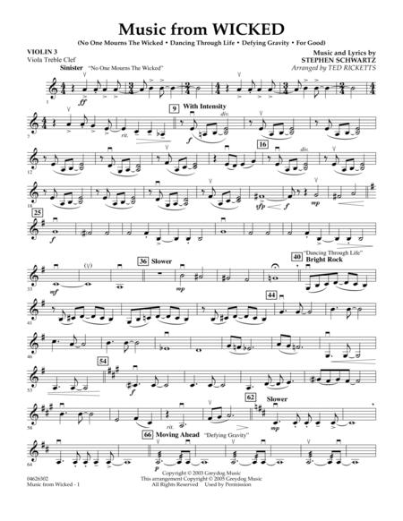 Music from Wicked - Violin 3 (Viola T.C.)