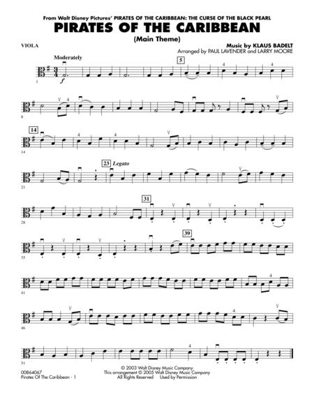 Pirates Of The Caribbean Main Theme Viola By Klaus Badelt Digital Sheet Music For Orchestra Download Print Hx 144769 Sheet Music Plus
