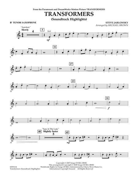 Transformers Soundtrack Highlights - Bb Tenor Saxophone