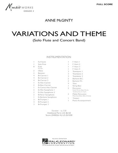 Variations And Theme (for Flute Solo And Band) - Full Score