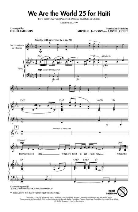 Download We Are The World 25 For Haiti Sheet Music By Artists For
