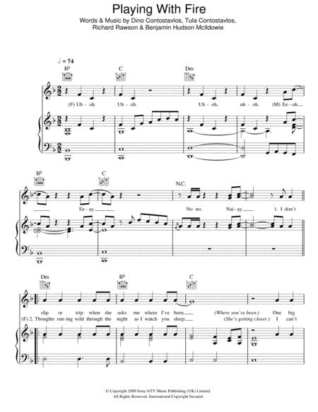 Playing With Fire By Digital Sheet Music For Piano Vocal
