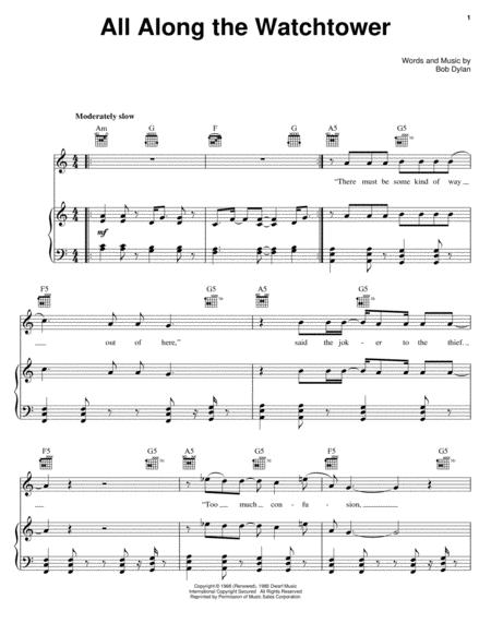 Download All Along The Watchtower Sheet Music By U2 - Sheet Music Plus