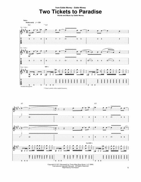 Download Two Tickets To Paradise Sheet Music By Eddie Money Sheet