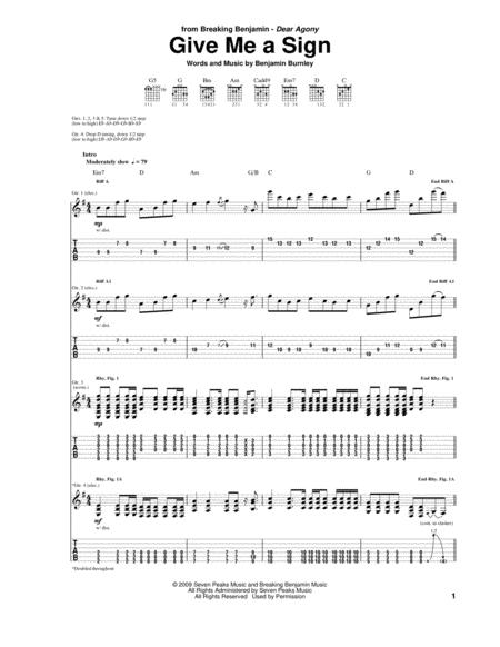 Give Me A Sign By Breaking Benjamin Digital Sheet Music For Guitar Tab Download Print Hx 150238 Sheet Music Plus