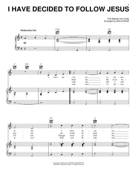 Download I Have Decided To Follow Jesus Sheet Music By Auila Read ...