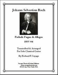 Prelude Fugue & Allegro, BWV 998 for Solo Classical Guitar
