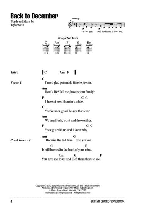 Preview Taylor Swift Guitar Chord Songbook By Taylor Swift Hl