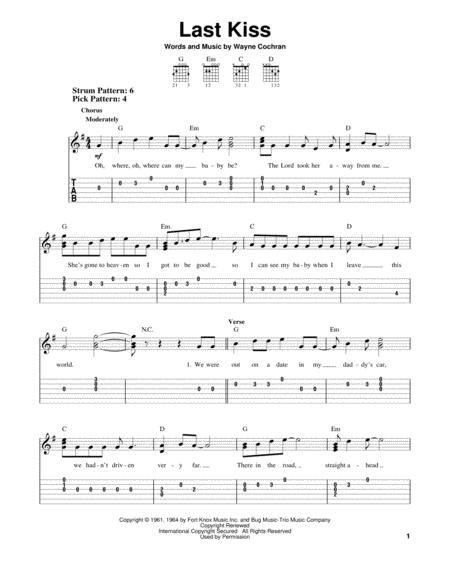 Download Last Kiss Sheet Music By Wayne Cochran Sheet Music Plus