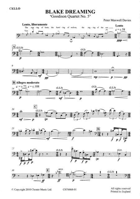 Blake Dreaming 'Goodison Quartet No.5' (Parts)