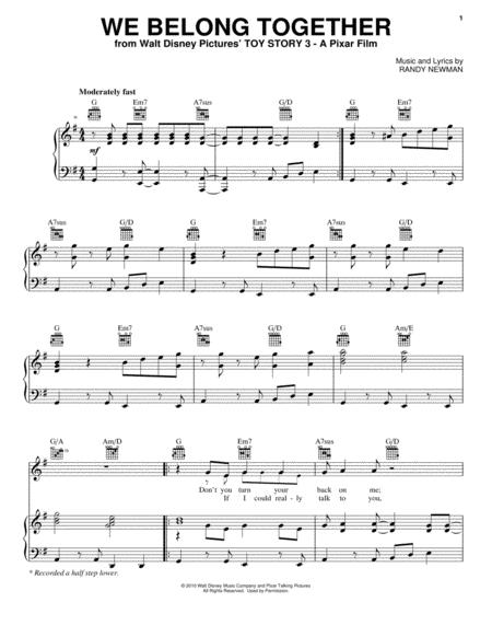 Download We Belong Together Sheet Music By Randy Newman - Sheet ...