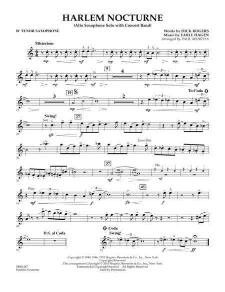 Harlem Nocturne (Alto Sax Solo with Band) - Bb Tenor Saxophone