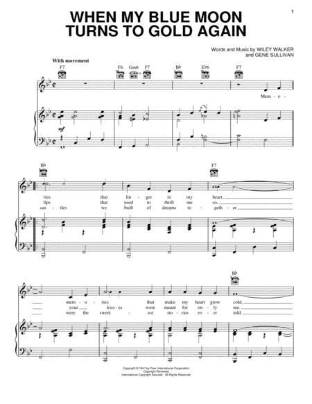 when my blue moon turns to gold again by digital sheet music for piano vocal guitar chords. Black Bedroom Furniture Sets. Home Design Ideas
