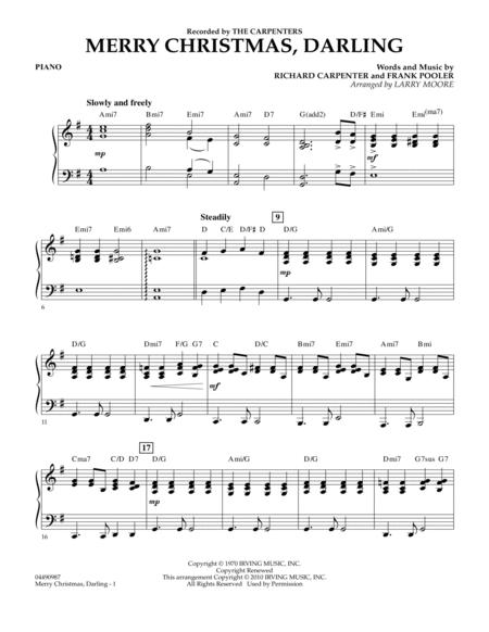 Download Merry Christmas Darling Piano Sheet Music By The