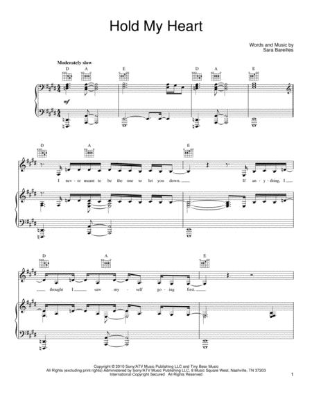 Download Hold My Heart Sheet Music By Sara Bareilles Sheet Music Plus