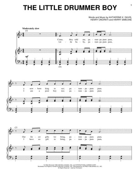 Download The Little Drummer Boy Sheet Music By Andy Williams - Sheet ...