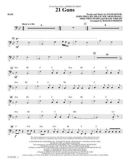 Download 21 Guns From Green Days American Idiot Bass Sheet