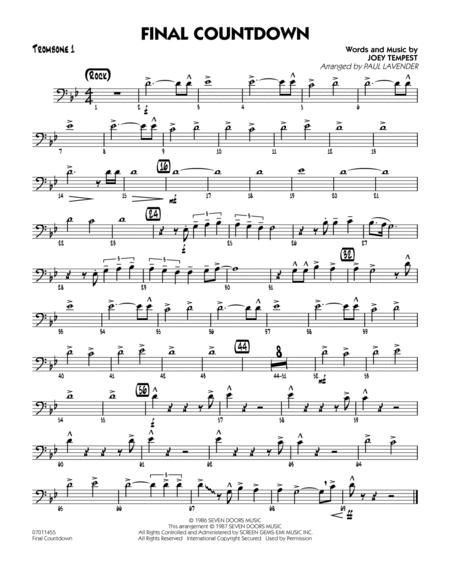graphic relating to Free Printable Trombone Sheet Music identified as Obtain Past Countdown - Trombone 1 Sheet Songs As a result of Europe