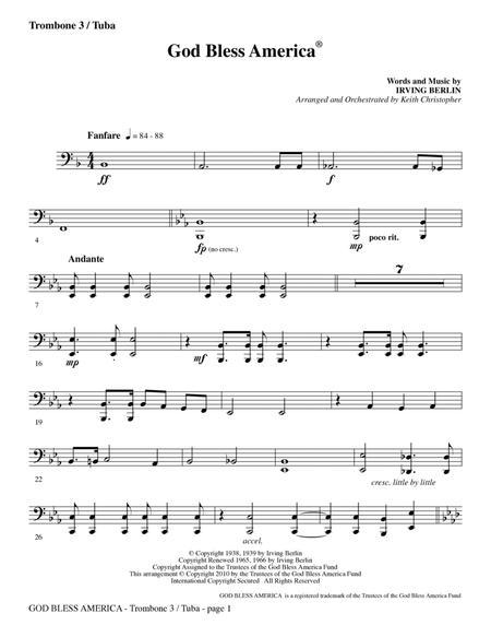 God Bless America - Trombone 3/Tuba