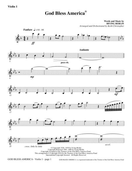 God Bless America - Violin 1