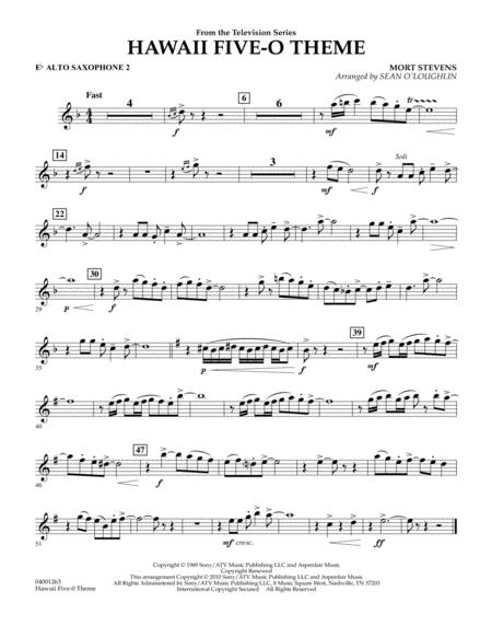 Hawaii Five-O Theme - Eb Alto Saxophone 2
