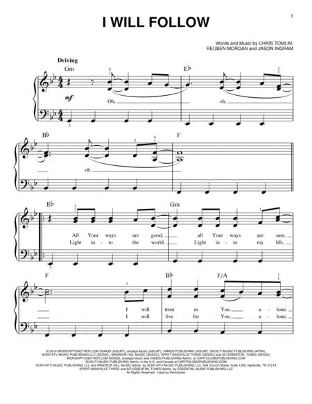 Download I Will Follow Sheet Music By Chris Tomlin Sheet Music Plus