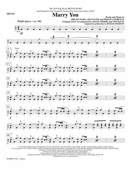 Download Marry You Drums Sheet Music By Glee Cast Sheet Music Plus