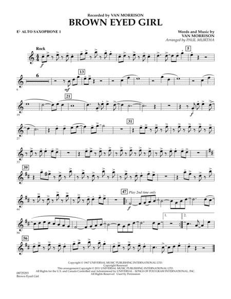 Download Brown Eyed Girl Eb Alto Saxophone 1 Sheet Music By Van