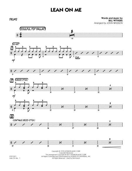 Download Lean On Me - Drums Sheet Music By Bill Withers