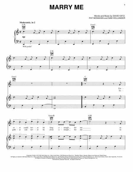 Download Marry Me Sheet Music By Train - Sheet Music Plus