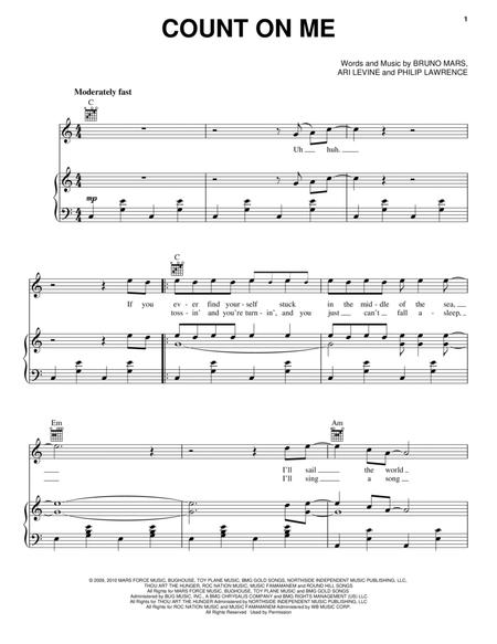 Download Count On Me Sheet Music By Bruno Mars Sheet Music Plus