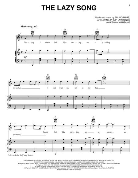Download The Lazy Song Sheet Music By Bruno Mars Sheet Music Plus