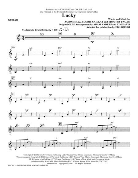 Download Lucky Guitar Sheet Music By Jason Mraz Sheet Music Plus