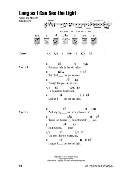 Download Long As I Can See The Light Sheet Music By Creedence ...