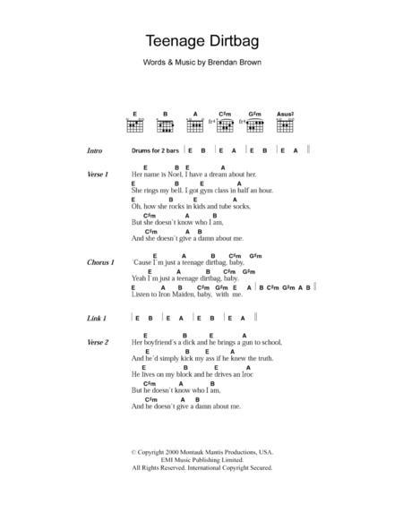 Download Teenage Dirtbag Sheet Music By Wheatus - Sheet Music Plus