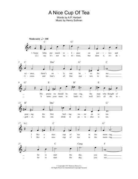 Download A Nice Cup Of Tea Sheet Music By Henry Sullivan