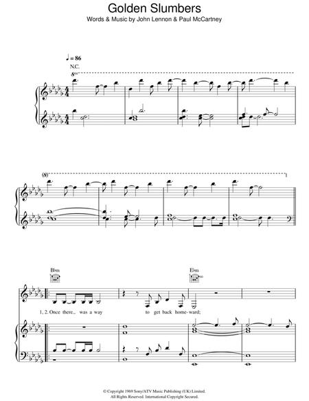 Download Golden Slumbers Sheet Music By John Lennon Sheet Music Plus