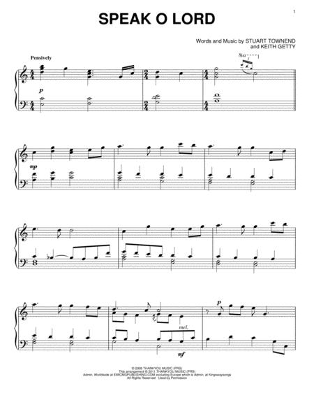 Download Speak O Lord Sheet Music By Keith Getty - Sheet Music Plus